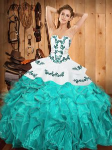 Glamorous Aqua Blue Sleeveless Floor Length Embroidery and Ruffles Lace Up 15 Quinceanera Dress