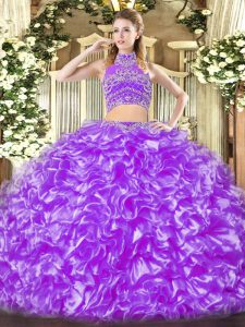 Graceful Lavender Two Pieces High-neck Sleeveless Tulle Floor Length Backless Beading and Ruffles Ball Gown Prom Dress