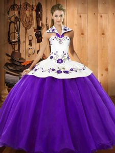 Purple Lace Up Halter Top Embroidery Sweet 16 Dresses Satin and Tulle Sleeveless
