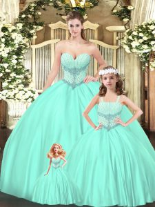 Vintage Sleeveless Lace Up Floor Length Beading Quinceanera Dresses
