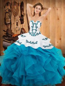 Nice Teal Sweet 16 Dresses Military Ball and Sweet 16 and Quinceanera with Embroidery and Ruffles Strapless Sleeveless Lace Up