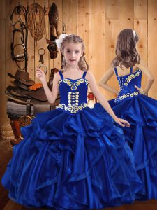 Royal Blue Sleeveless Organza Lace Up Pageant Gowns For Girls for Sweet 16 and Quinceanera