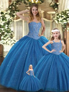 Floor Length Teal Quinceanera Dress Sweetheart Sleeveless Lace Up