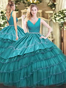 Best Selling V-neck Sleeveless Quinceanera Dress Floor Length Embroidery and Ruffled Layers Teal Satin and Organza