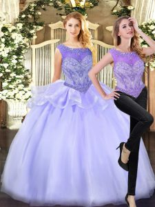 Eye-catching Scoop Sleeveless Zipper Vestidos de Quinceanera Lavender Organza