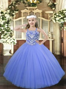 Admirable Floor Length Lace Up Little Girls Pageant Dress Wholesale Blue for Party and Quinceanera with Beading