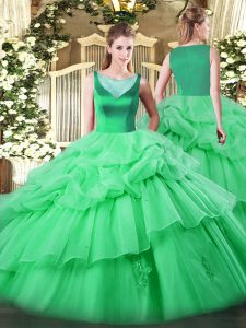 Hot Sale Apple Green Ball Gowns Beading and Appliques and Pick Ups Quinceanera Gown Side Zipper Organza Sleeveless Floor Length