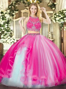 Glorious Organza Scoop Sleeveless Zipper Beading and Ruffles Ball Gown Prom Dress in Hot Pink