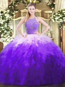 Fantastic Multi-color Ball Gowns Halter Top Sleeveless Tulle Floor Length Zipper Beading and Ruffles Quinceanera Dress