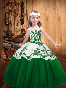 Embroidery Pageant Dress Toddler Dark Green Lace Up Sleeveless Floor Length