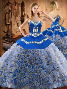 Comfortable Sleeveless Sweep Train Embroidery Lace Up Quinceanera Dress