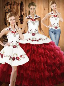 Flare Halter Top Sleeveless Quinceanera Dresses Floor Length Embroidery and Ruffled Layers Wine Red Organza