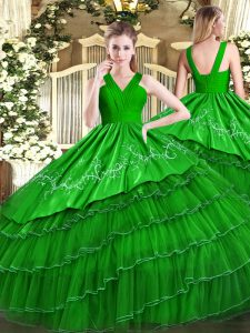 Green Sleeveless Embroidery and Ruffled Layers Floor Length Quinceanera Dress