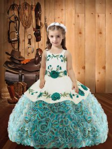Multi-color Sleeveless Floor Length Embroidery and Ruffles Lace Up Little Girls Pageant Dress