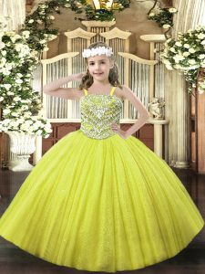 Floor Length Yellow Pageant Gowns For Girls Straps Sleeveless Lace Up
