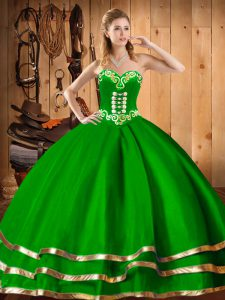 Floor Length Dark Green Quinceanera Gown Sweetheart Sleeveless Lace Up