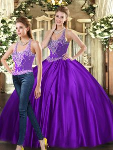 On Sale Beading Sweet 16 Dresses Purple Lace Up Sleeveless Floor Length
