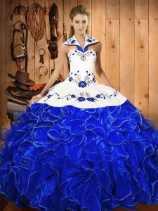 Blue And White Sleeveless Embroidery and Ruffles Floor Length 15th Birthday Dress