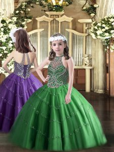 Green Ball Gowns Tulle Halter Top Sleeveless Beading Floor Length Lace Up Pageant Dresses