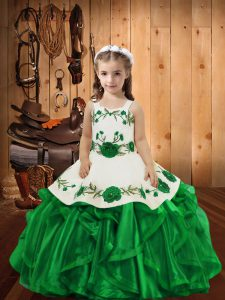 Straps Sleeveless Girls Pageant Dresses Floor Length Embroidery and Ruffles Green Organza
