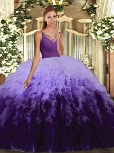 Fashion Multi-color V-neck Backless Ruffles Vestidos de Quinceanera Sleeveless