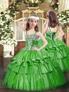 Green Ball Gowns Organza Straps Sleeveless Appliques and Ruffled Layers Floor Length Lace Up Girls Pageant Dresses