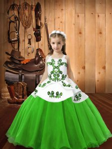 Straps Lace Up Embroidery Child Pageant Dress Sleeveless