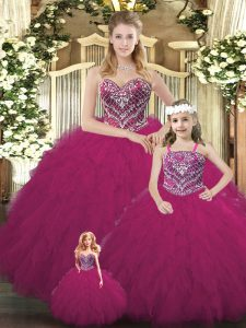 Superior Sweetheart Sleeveless Organza Quinceanera Gowns Beading and Ruffles Lace Up