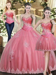 Fabulous Floor Length Rose Pink Quinceanera Dresses Tulle Sleeveless Beading and Appliques