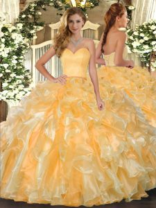 Beautiful Gold Sweetheart Neckline Beading and Ruffles Quinceanera Dress Sleeveless Lace Up