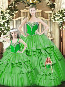 Green Sweetheart Lace Up Beading and Ruffled Layers Quince Ball Gowns Sleeveless