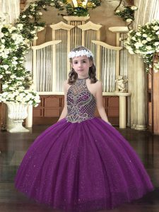 Dark Purple Ball Gowns Halter Top Sleeveless Tulle Floor Length Lace Up Beading Glitz Pageant Dress