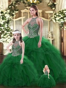Dark Green Tulle Lace Up Vestidos de Quinceanera Sleeveless Floor Length Beading and Ruffles
