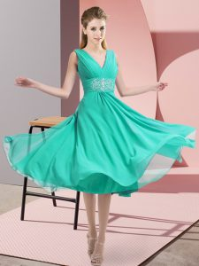 Empire Dama Dress Teal V-neck Chiffon Sleeveless Knee Length Side Zipper