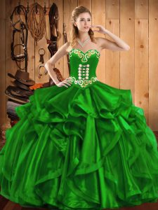 Low Price Floor Length Green Sweet 16 Quinceanera Dress Sweetheart Sleeveless Lace Up