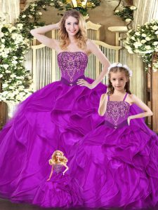 Fuchsia Ball Gowns Beading and Ruffles Quinceanera Gowns Lace Up Organza Sleeveless Floor Length