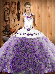 Multi-color Sweet 16 Quinceanera Dress Military Ball and Sweet 16 and Quinceanera with Embroidery Halter Top Sleeveless Sweep Train Lace Up