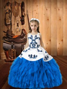Organza Sleeveless Floor Length Kids Formal Wear and Embroidery and Ruffles
