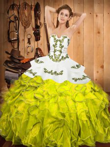 Exquisite Yellow Green Ball Gowns Strapless Sleeveless Satin and Organza Floor Length Lace Up Embroidery and Ruffles 15th Birthday Dress
