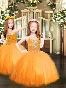 Sleeveless Lace Up Floor Length Beading Girls Pageant Dresses