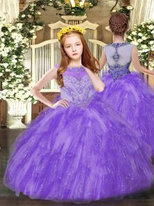 Lavender Little Girls Pageant Dress Wholesale Party and Quinceanera with Beading and Ruffles Scoop Sleeveless Zipper