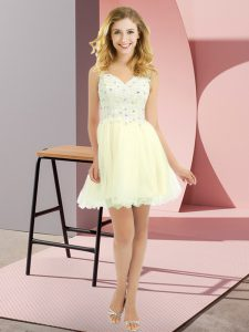 High Class Light Yellow Lace Up Quinceanera Dama Dress Beading and Lace Sleeveless Mini Length