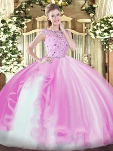 Luxury Bateau Sleeveless Zipper 15th Birthday Dress Lilac Tulle
