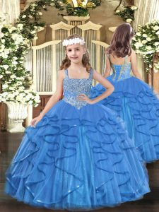 Eye-catching Beading and Ruffles Little Girl Pageant Dress Baby Blue Lace Up Sleeveless Floor Length
