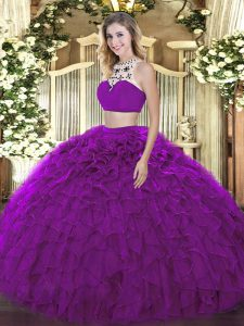 Delicate Purple Sleeveless Beading and Ruffles Floor Length Quinceanera Gowns