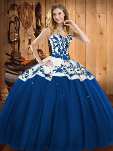 High Quality Satin and Tulle Sweetheart Sleeveless Lace Up Embroidery Quince Ball Gowns in Blue