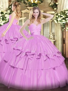 On Sale Lilac Ball Gowns Beading and Ruffled Layers Ball Gown Prom Dress Lace Up Taffeta Sleeveless Floor Length