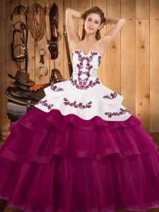 Noble Ball Gowns Sleeveless Fuchsia Ball Gown Prom Dress Sweep Train Lace Up