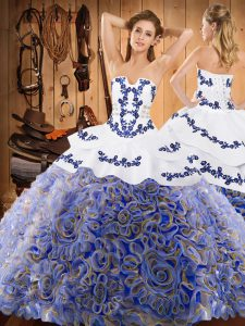 Fitting Multi-color Satin and Fabric With Rolling Flowers Lace Up Strapless Sleeveless With Train Sweet 16 Quinceanera Dress Sweep Train Embroidery