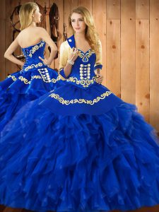 Satin and Organza Sweetheart Sleeveless Lace Up Embroidery and Ruffles Quinceanera Dress in Blue